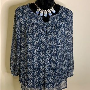 Lucky Brand Blue Paisley Sheer Top